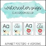 Watercolor Pug Classroom Decor: Alphabet Posters