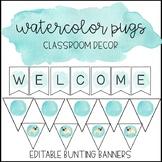 Watercolor Pug Classroom Decor: Editable Bunting Banners