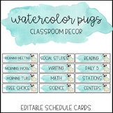 Watercolor Pug Classroom Decor: Schedule Cards