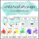 Watercolor Pug Clipart: Color, Number, and Shape Posters