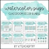 Watercolor Pugs Classroom Decor Bundle