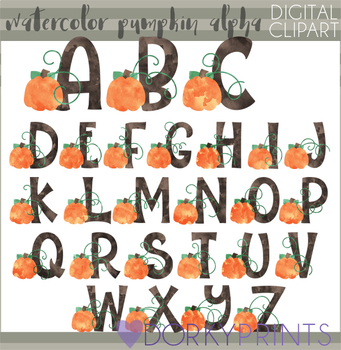 Watercolor Pumpkin Alphabet Clipart