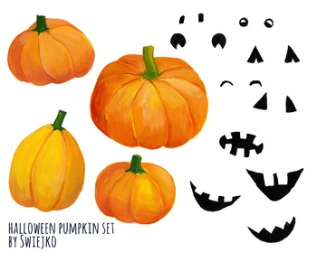 Watercolor Pumpkin Halloween Clipart, Digital Watercolour, scary, witch, autumn