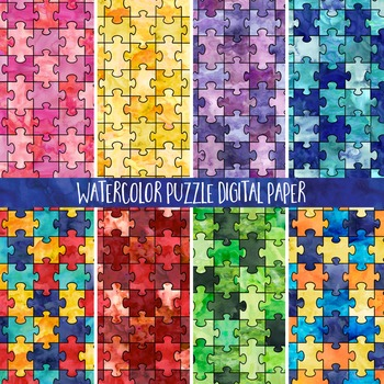 Watercolor Puzzle Pattern Background Digital Paper