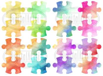 Watercolor Puzzle Pieces Clipart