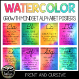 Watercolor Cursive Alphabet Posters (Growth Mindset Quotes)