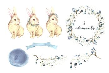 Watercolor Rabbit Clip Art and Print