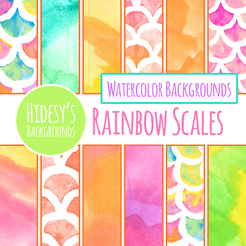 Watercolor Rainbow Scales Digital Paper / Patterns / Backgrounds Clip Art