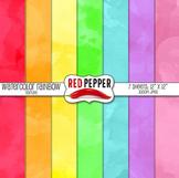 Free Digital Paper - Watercolor Rainbow