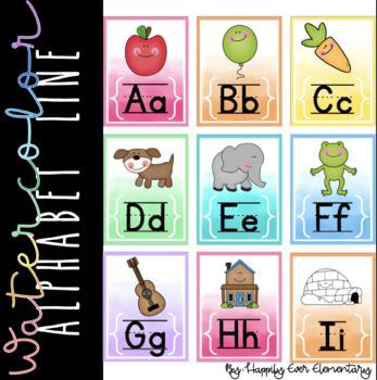 Watercolor Rainbow Alphabet Line