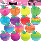 Watercolor Rainbow Apples Clipart for Back to School
