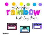 Watercolor Rainbow BIRTHDAY Chart and letters