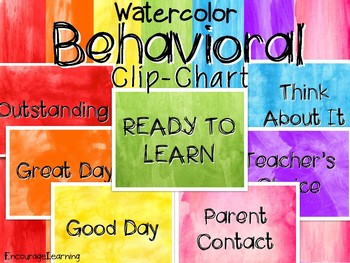 Watercolor Rainbow Behavioral Clip-Chart
