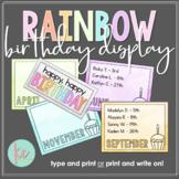 Watercolor Rainbow Birthday Display (Editable)
