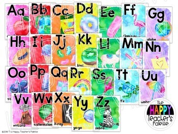 Watercolor Rainbow Brights Alphabet Posters