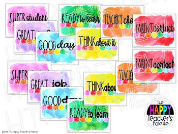Watercolor Rainbow Brights Behavior Clip Chart