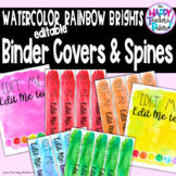 Watercolor Rainbow Brights Binder Covers & Spines *Editable