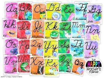 Watercolor Rainbow Brights CURSIVE Alphabet Posters
