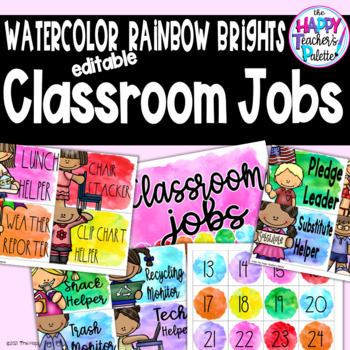 Watercolor Rainbow Brights Classroom Jobs *Editable