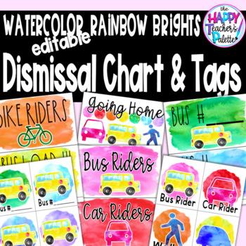 Watercolor Rainbow Brights Dismissal Chart & Tags *Editable
