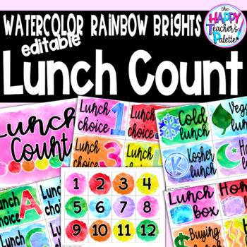 Watercolor Rainbow Brights Lunch Count *Editable