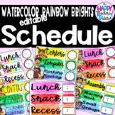 Watercolor Rainbow Brights Schedule *Editable