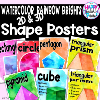 Watercolor Rainbow Brights Shapes Posters 2D & 3D