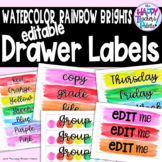 Watercolor Rainbow Brights Sterilite Drawer Labels *Editable