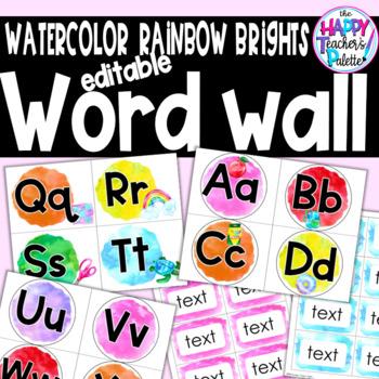 Watercolor Rainbow Brights Word Wall Set *Editable