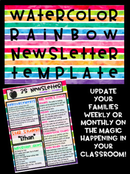 Watercolor Rainbow Class Newsletter Template