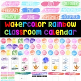 Watercolor Rainbow Classroom Calendar Decoration