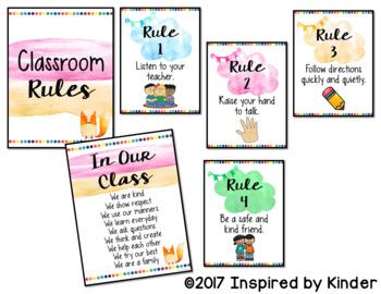 Watercolor Rainbow Classroom Rules