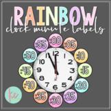 Watercolor Rainbow Clock Minute Labels