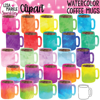 Watercolor Rainbow Coffee Mug Clipart