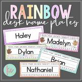 Watercolor Rainbow Desk Name Plates (Editable)
