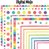 Watercolor Clipart Rainbow Frames / Page Borders