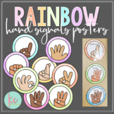 Watercolor Rainbow Hand Signals Posters (Editable)