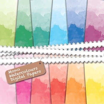 Watercolor Rainbow Inspired - Digital Papers