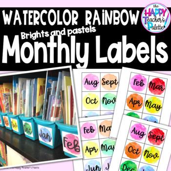 Watercolor Rainbow Monthly Book Bin Labels