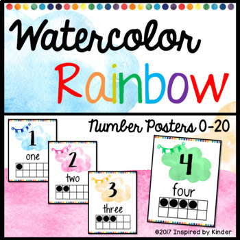 Watercolor Rainbow Number Posters {0-20}