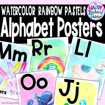 Watercolor Rainbow Pastels Alphabet Posters