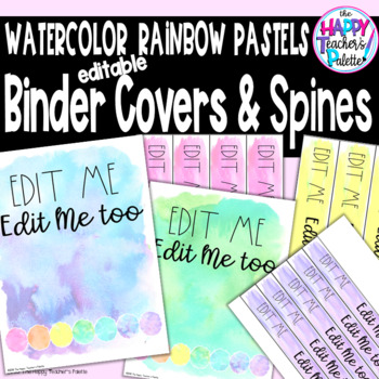 watercolor rainbow pastels binder covers spines editable tpt