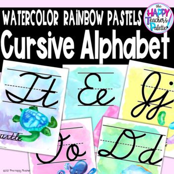 Watercolor Rainbow Pastels CURSIVE Alphabet Posters
