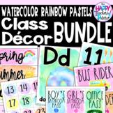 Watercolor Rainbow Pastels Classroom Decor BUNDLE