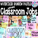 Watercolor Rainbow Pastels Classroom Jobs *Editable
