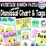 Watercolor Rainbow Pastels Dismissal Chart & Tags *Editable