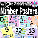Watercolor Rainbow Pastels Number Posters 0-20