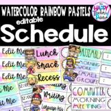 Watercolor Rainbow Pastels Schedule *Editable