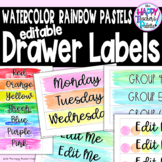 Watercolor Rainbow Pastels Sterilite Drawer Labels *Editable