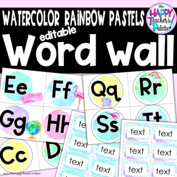 Watercolor Rainbow Pastels Word Wall Set *Editable